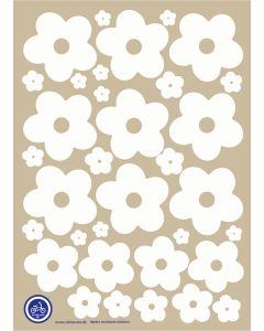 A3 Ark Klistermærker Til Ladcykel - Hvide Blomster