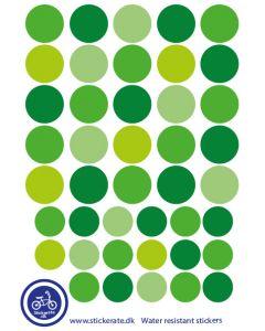 A5 Ark Klistermærker Til Cykelhjelmen - Grønne Dots