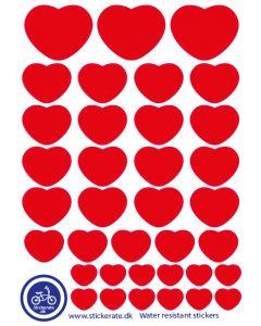A5 Røde hjerter klistermærker også kaldet stickers